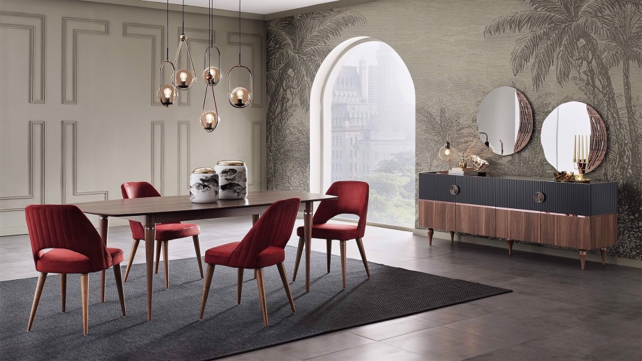 Set masa extensibila din pal + 4 scaune tapitate cu stofa, cu picioare din lemn Montana Nuc / Bordeaux, L170-210xl98xH76,8 cm